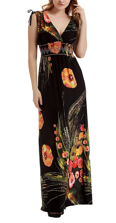 c69d6193350d Vestiti Lungo Donna Estivi Plus Size Beach Boho Elegante Baggy Vestito  Fashionable Completi V Neck Slim Fit Vita Alta Abito Stampato Floreale Abiti  Mare ...