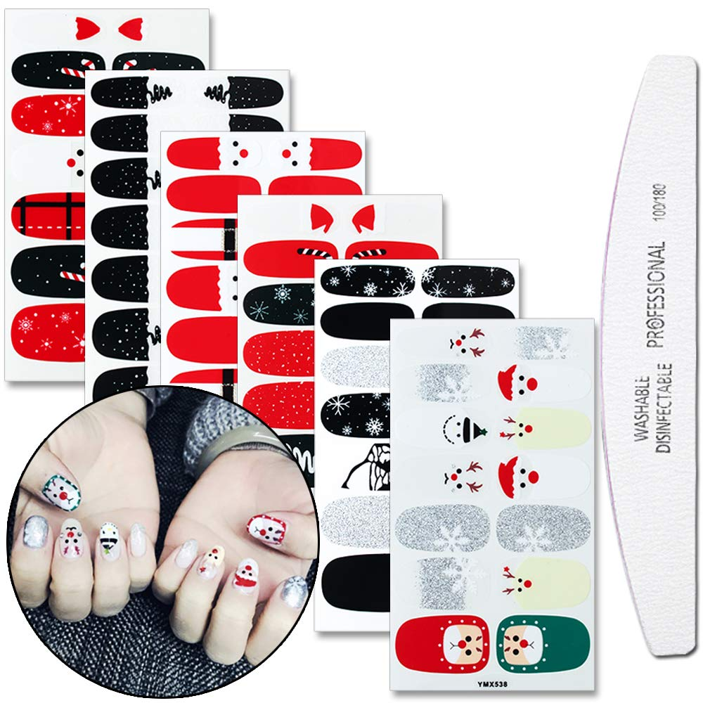 WOKOTO 6 Sheets Adhesive Nail Art Polish Stickers Strips Set With 1Pc Nail File Nail Wraps Decals Manicure Kit For Christmas by WOKOTO