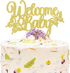 Gold Glitter Welcome Baby Cake Topper, Butterfly Cake Decor, Spring Theme Baby Shower Decoration, Garden Baby Shower Party Supplies