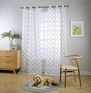 "Miuco White Sheer Curtains Embroidery Trellis Design Grommet Curtains 84 Inches Long for Living Room 2 Panels (2 x 37 Wide x 84"" Long) White/Silver Embroidery"