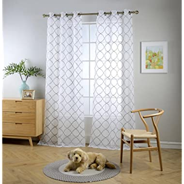 Miuco White Sheer Curtains Embroidery Trellis Design Grommet Curtains 84 Inches Long for Living Room 2 Panels (2 x 37 Wide x 84  Long) White/Silver Embroidery