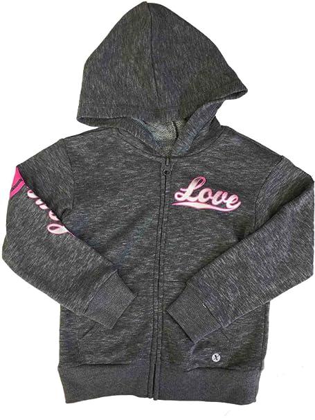 Amazon.com: Niñas gris Heather y rosa Love con cierre y ...