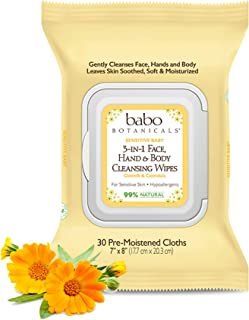 product image for Babo Botanicals Sensitive Baby 3-in-1 Face, Hand & Body Wipes with Oatmilk & Organic Calendula, Hypoallergenic, Vegan, 30 Count