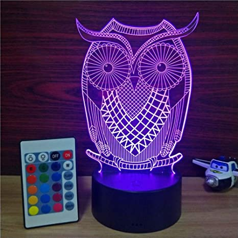 Amazon.com: Wqsm 7 Color Lámpara 3D Visual Led Noche Luces ...