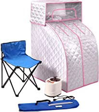 JAXPETY 2L Portable Steam Sauna Silver / Pink Tent SPA Detox-Weight Loss with Headcover and Chair