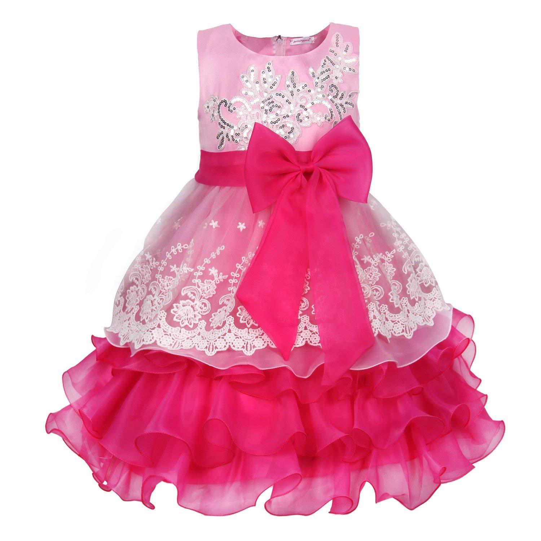 Pink 140cm LaBiTi Girls Ruffles Embroidered Sequined Pageant Flower Wedding Dress