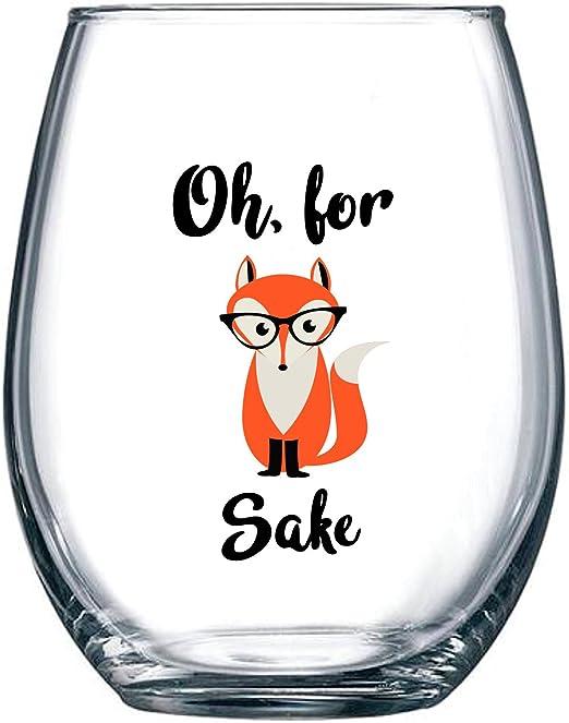 Amazon.com: Oh, para Fox Sake 15 oz Divertido Vino Copa de ...