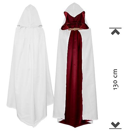 Capucha Capa para Guerrero Asesino Disfraz Blanco Rojo para Niños(110cm)   Amazon.es  Productos para mascotas 2279001a1678