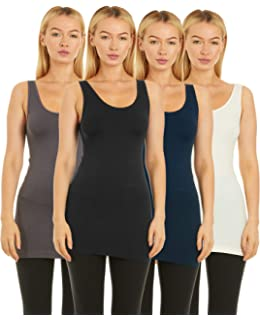 32b8b4888c8861 Unique Styles 4 Pack Layering Tank Tops for Women Camisole Regular and Plus  Size