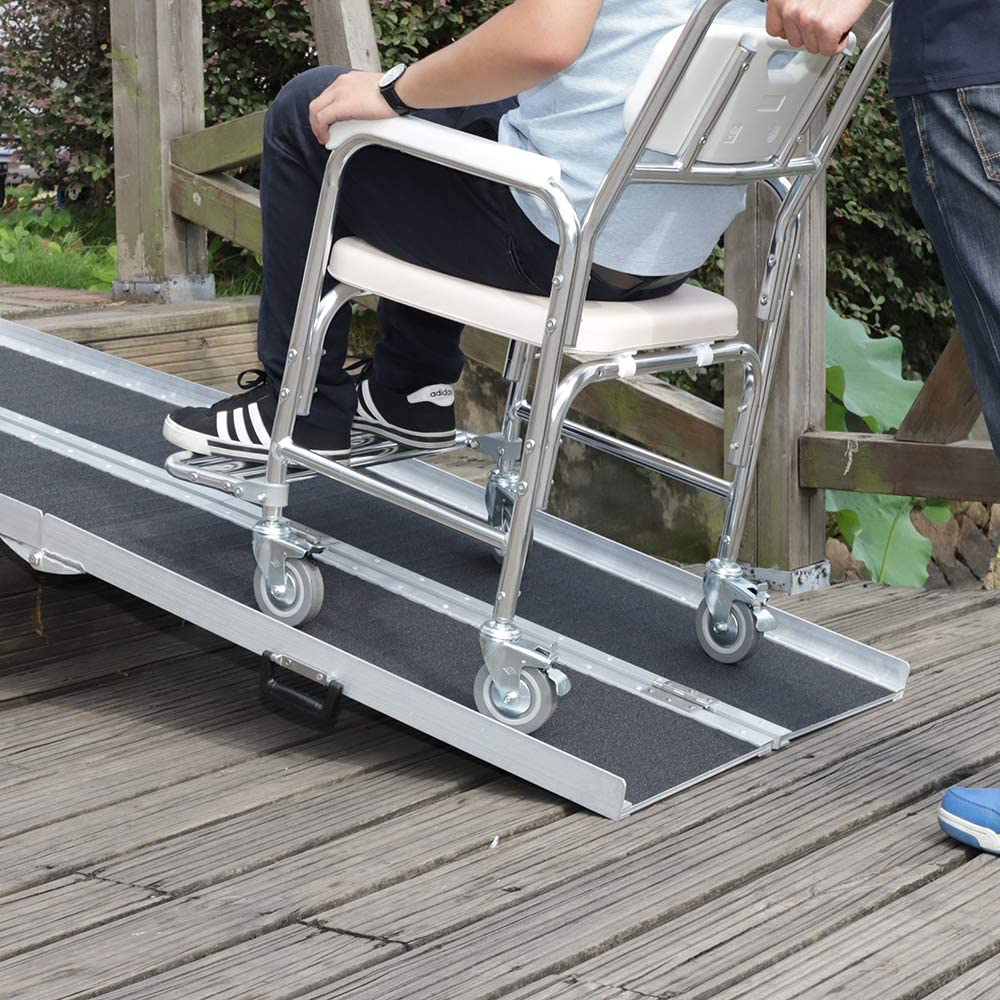 bindun 6FT Four-section Non-Skid Folding Lightweight Aluminum Alloy Wheelchair Scooter Mobility Ramps Handicap Ramps for Wheelchairs