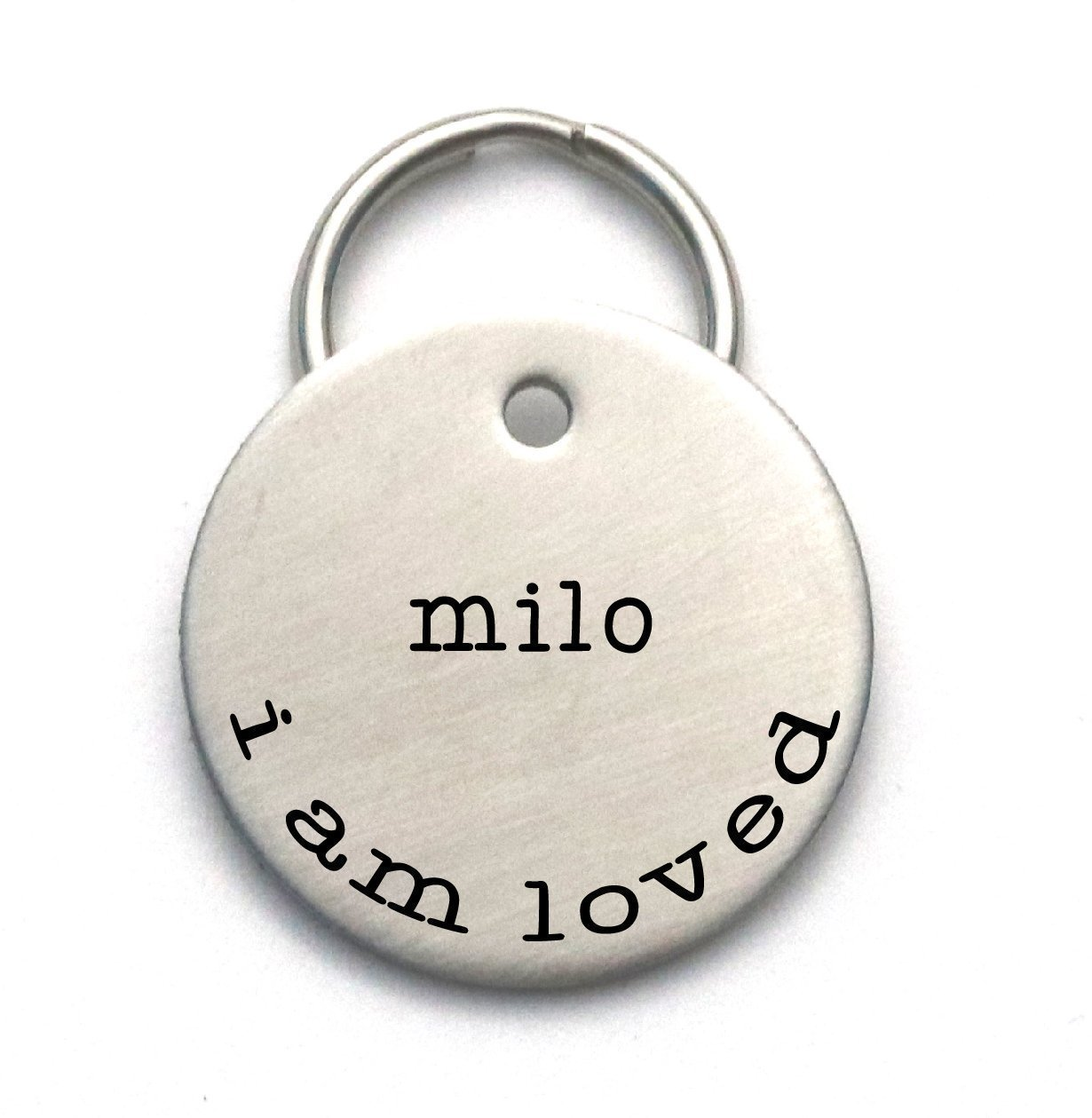 Simple Dog Tag Customized With Your Pet's Name and Phone, I am Loved - Engraved Metal ID - Cute