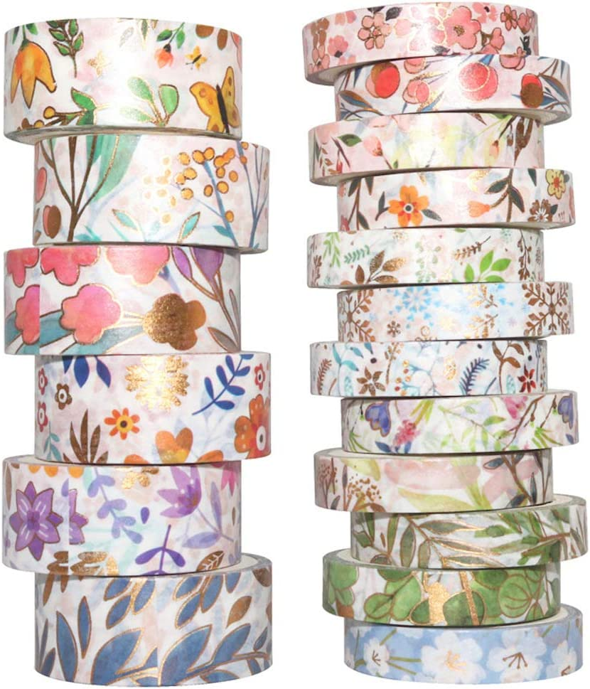 Yubbaex Black Gold Washi Tapes 10 Rolls x15mm Masking Tape Set Classical Pattern