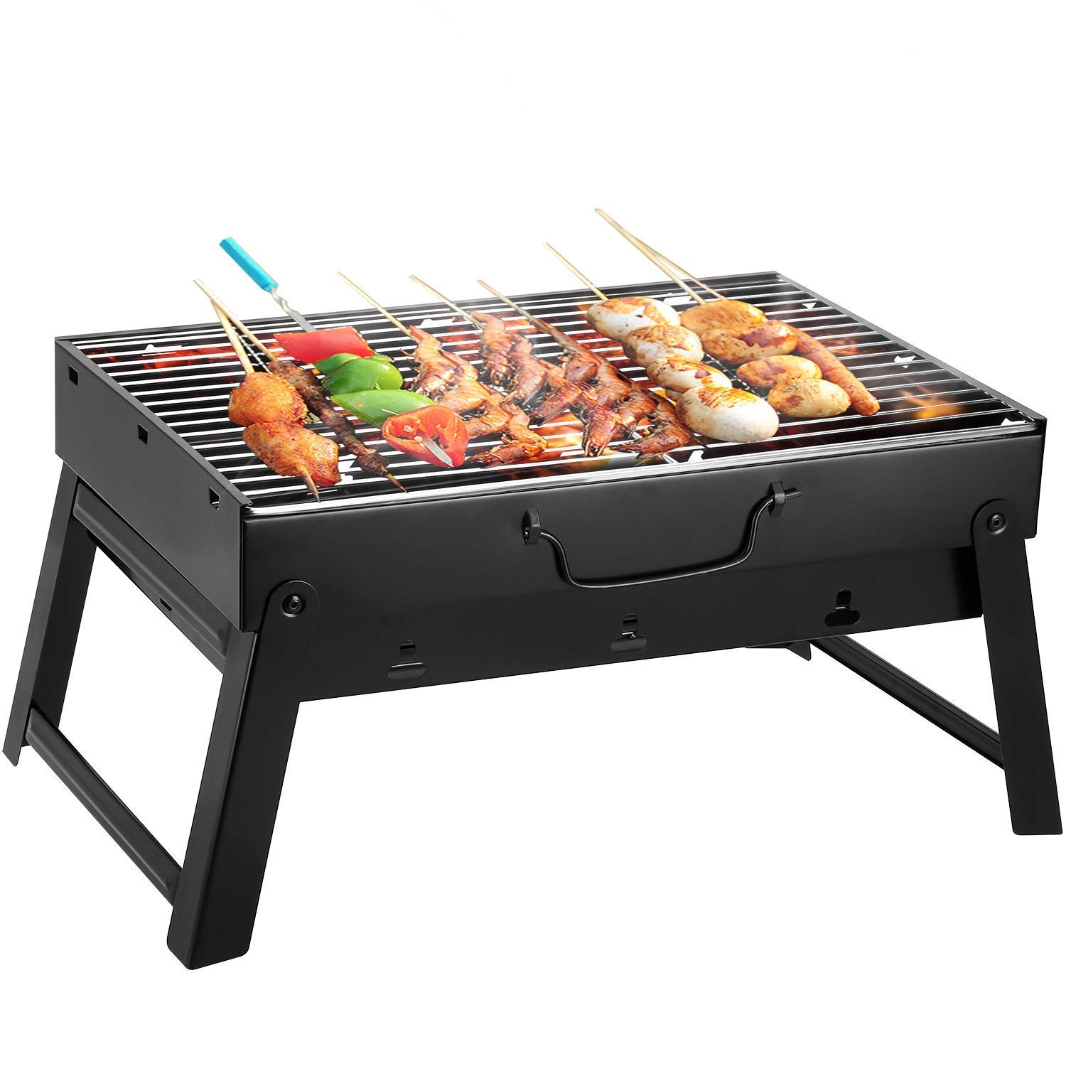 EVOLAND BBQ Charcoal Grill, Folding Portable Lightweight Small Barbecue Grill Tools for Outdoor Grilling Cooking Camping Hiking Picnics Tailgating Backpacking Party by EVOLAND