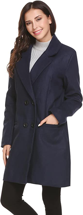 Amazon.com: HOTOUCH Women Peacoat Winter Outdoor Wool Blended Classic  double breasted Pea Coats Jacket: Clothing