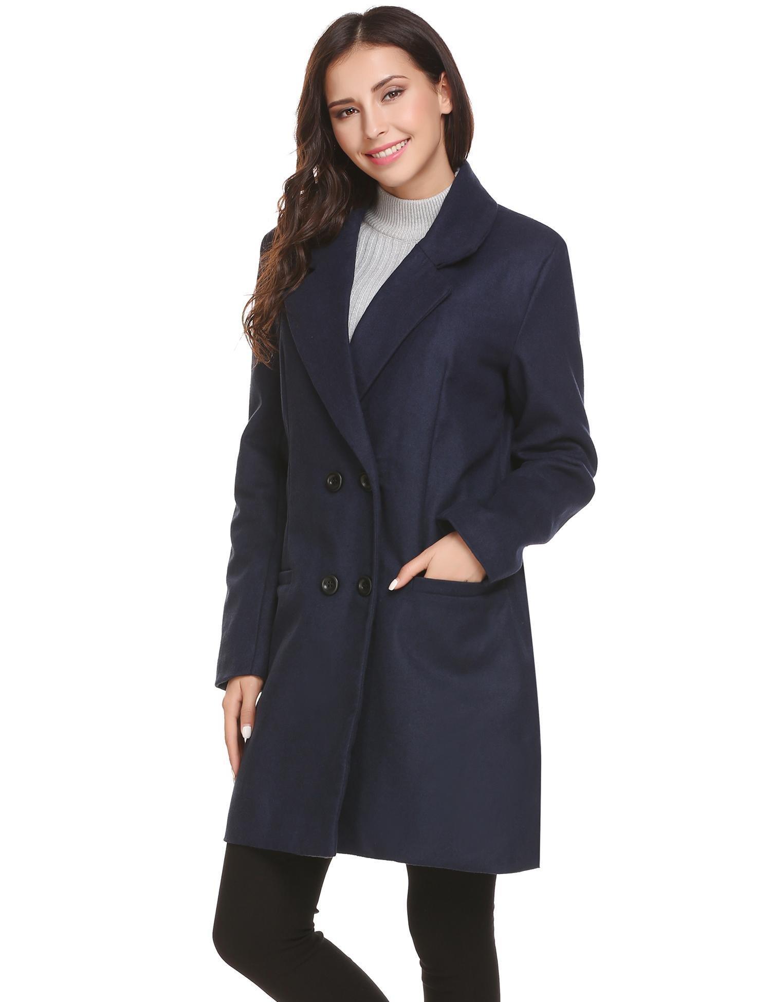 HOTOUCH Women's New Style Winter Dress-Coats Slim Long Woolen Pea Coat Navy Blue L