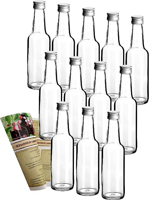 guoveo - 12 botellas de 250 ml con tapón de rosca plateado ...