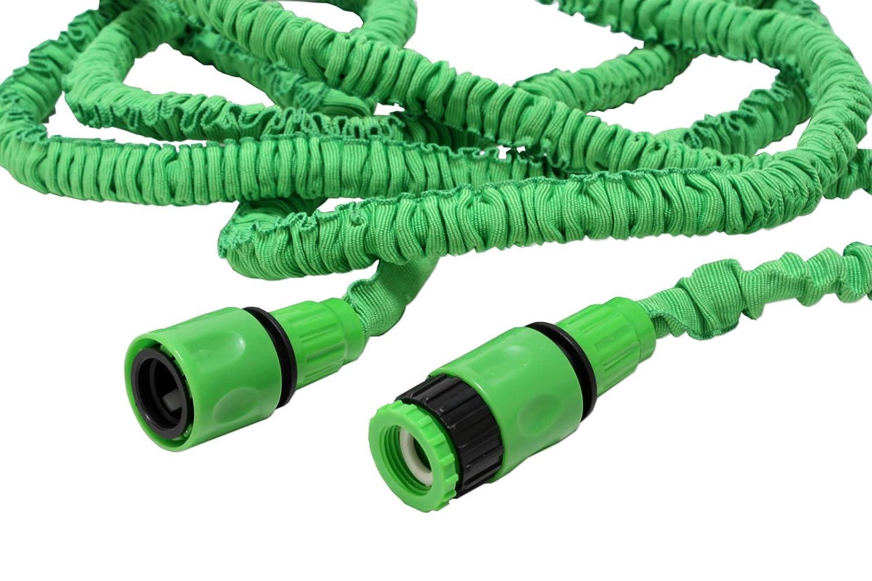 30 m flexibler Gartenschlauch, Grün, Wunderschlauch, dehnbarer - knickfreier Wasserschlauch inkl. Adapter