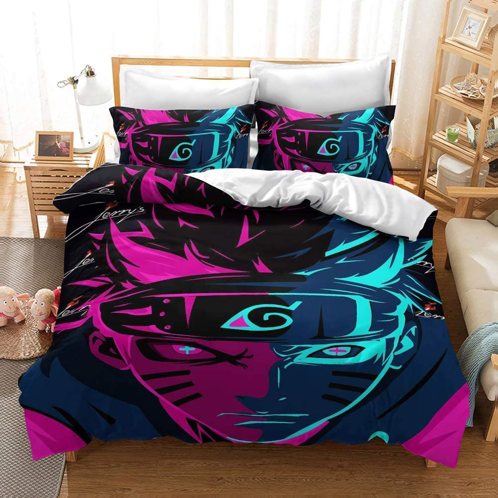 Ddqq Anime Bedding Set 3d Printed Twin Size Japan Anime Bed Set 3pcs Lovely Soft Breathable Comforter Cover No Comforter Kitchen Dining