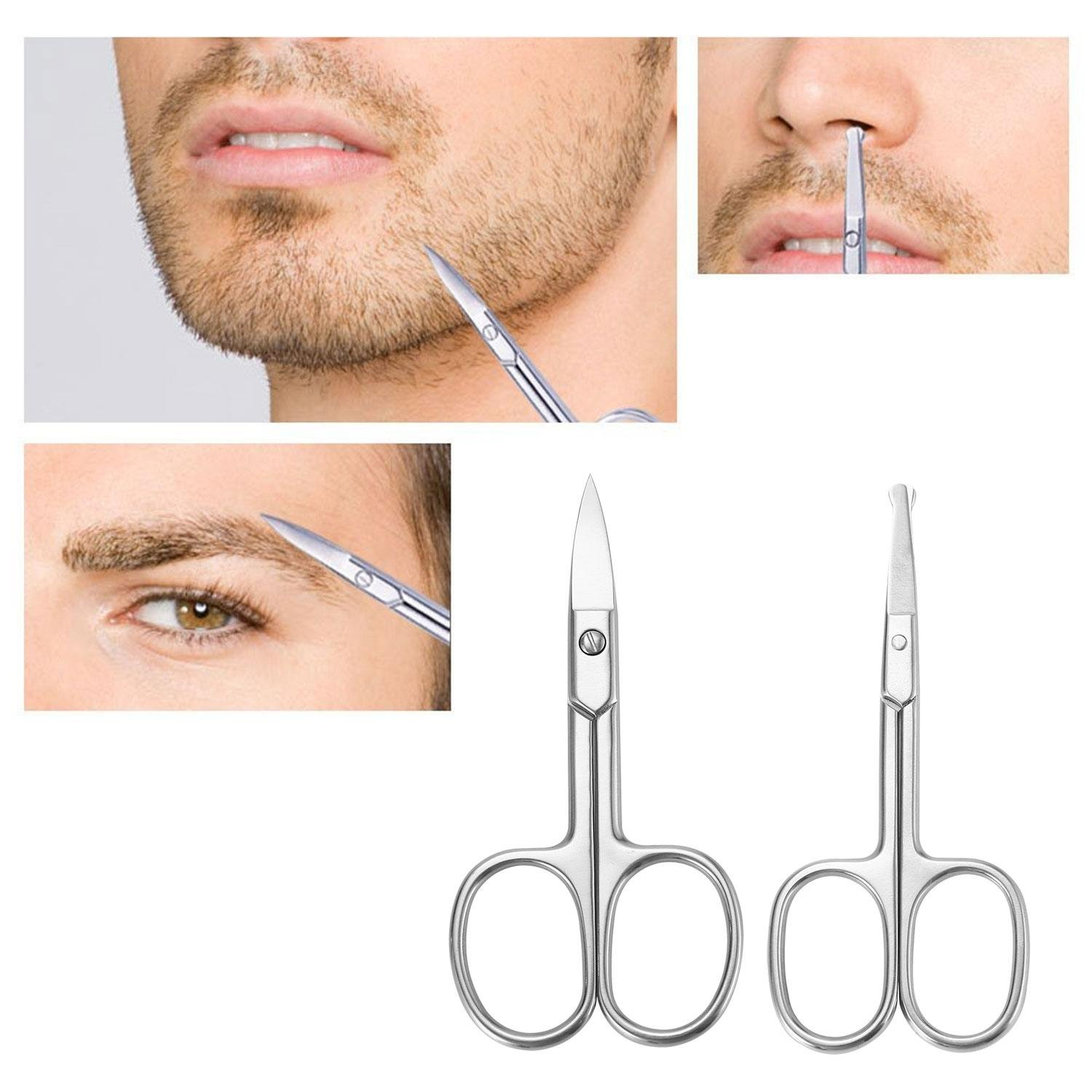 Nose Hair Scissors Beard Eyebrow Trimmer Mustache Scissors Stainless Steel Set with Storage Box niceeshop