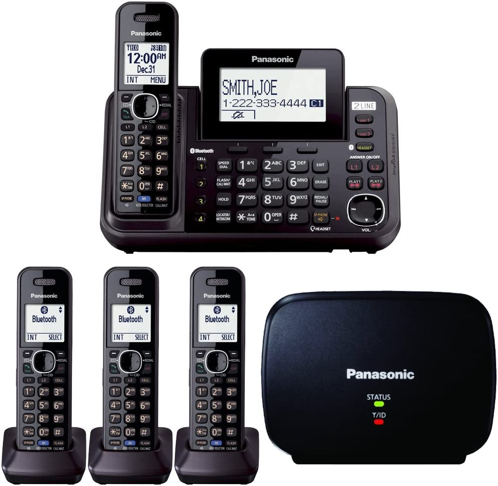PANASONIC KX-TG9541B 2-LINE W//LINK-TO-CELL USB MUSIC ON HOLD 3 CORDLESS PHONES