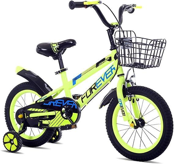 Bicicletas para niños con Estilo niños y niñas Bicicletas para niños niños de 3/6/8 años de Edad Ciclismo Bicicletas de Tres Ruedas para niños Individuales (Color : Green , Size :