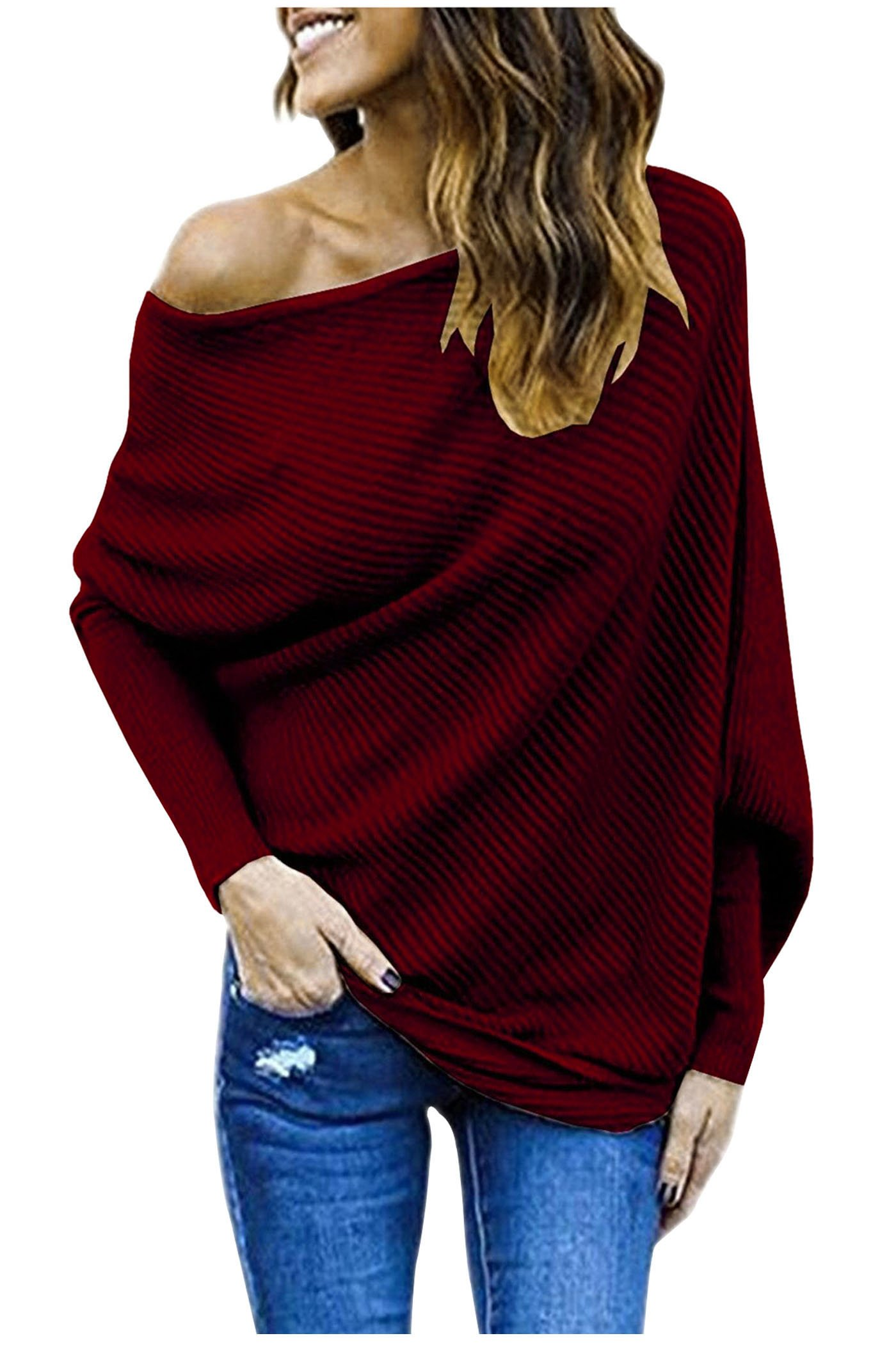Aifer Women's Off Shoulder Sweater Batwing Sleeve Loose Pullover Sweater Knit Jumper Tops