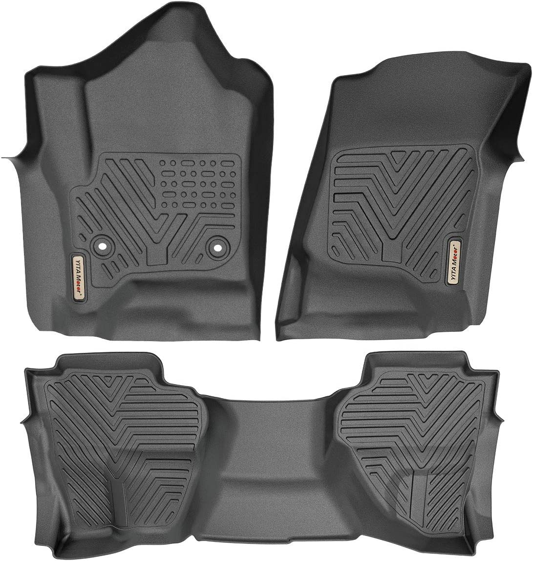 YITAMOTOR Floor Mats Compatible with 2014-2018 Silverado//Sierra 1500 1st /& 2nd Row All Weather Protection 2015-2019 2500//3500 HD Custom Fit Floor Liners Double Cab Only