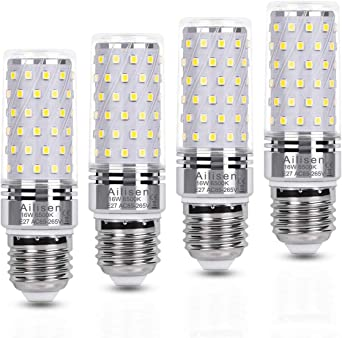 Bombilla E27 led Maíz bombillas luz Blanco Frio 16W Equivalentes Incandescente Bombillas 120W, 1650LM 6500K Candelabro led Lampara de Ángulo 360° Edison tornillo bombillas - Pack de 4: Amazon.es: Iluminación