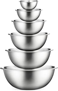 Stainless Steel Mixing Bowls (Set of 6) Stainless Steel Mixing Bowl Set - Easy To Clean, Nesting Bowls for Space Saving Storage, Great for Cooking, Baking, Prepping