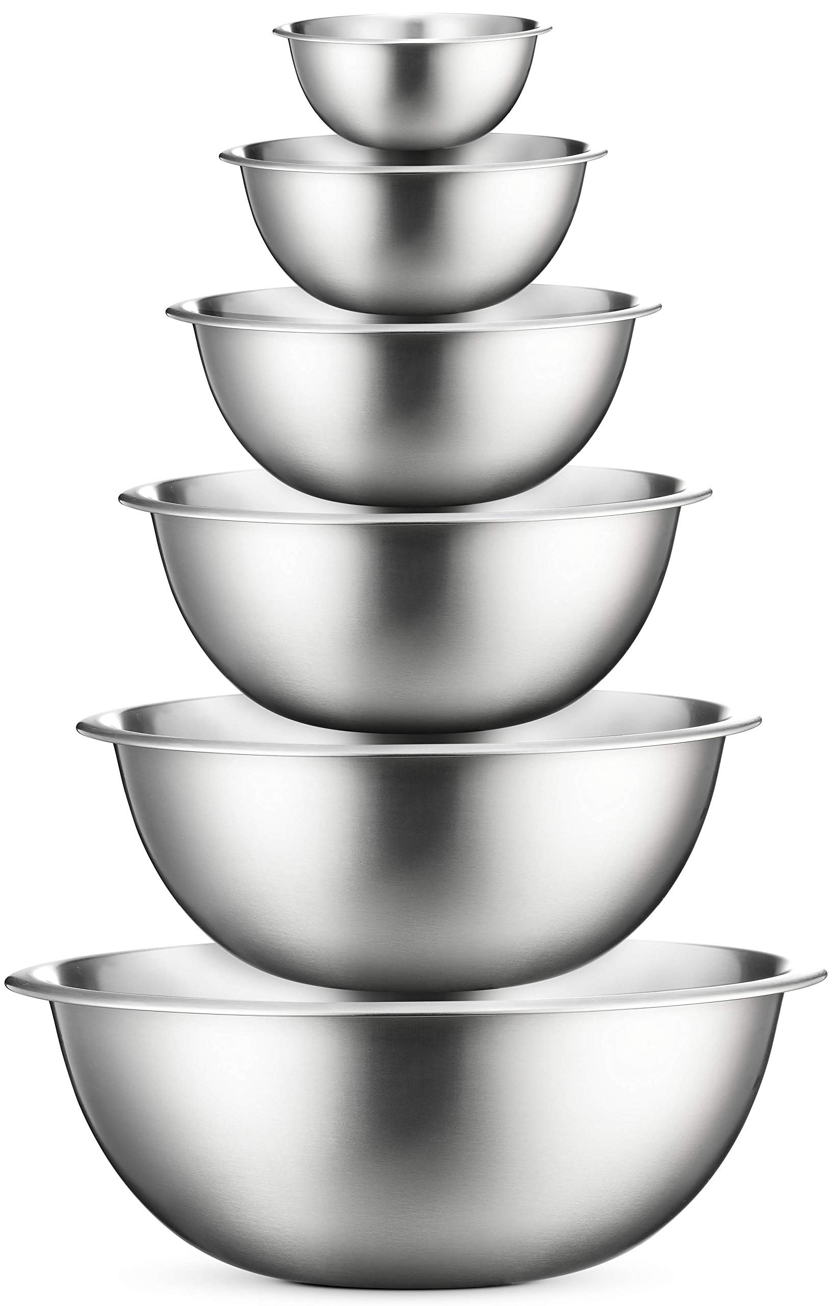 Premium Stainless Steel Mixing Bowls (Set of 6) Brushed Stainless Steel Mixing Bowl Set - Easy To Clean, Nesting Bowls for Space Saving Storage, Great for Cooking, Baking, Prepping by FINEDINE