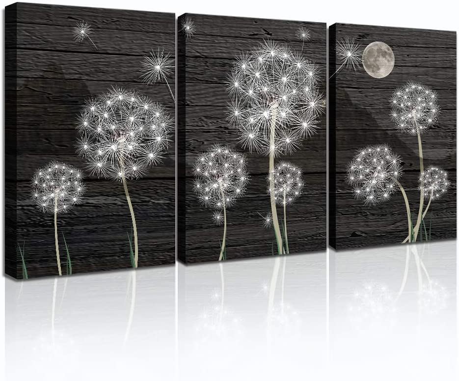 Farmhouse Wall Art for Living Room Black and White wall decor for bedroom Canvas Art Prints dandelion Canvas Pictures Modern Office kitchen Bathroom Wall Decorations artwork 3 Panels Framed Home decor