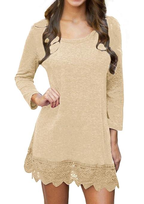 POZON Women's Long Sleeve A-line Lace Stitching Trim Casual Dress (XL, Purplish Red)