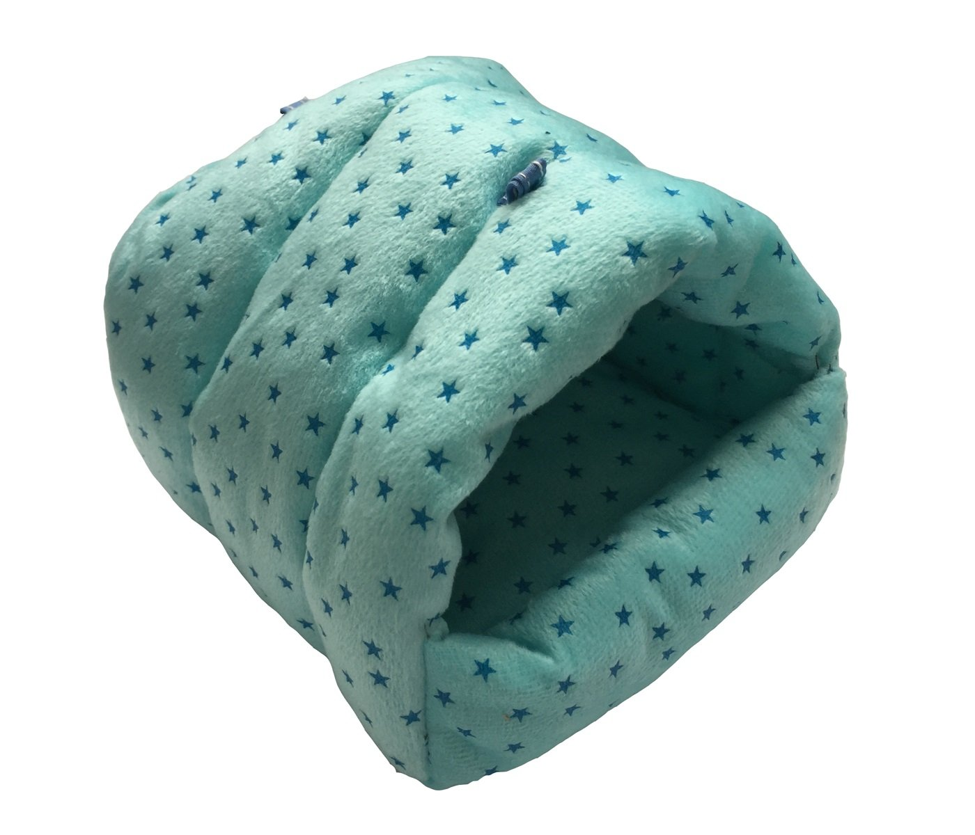 WowowMeow Small Animals Warm Hanging Cage Cave Bed Hamsters, Guinea-Pigs, Rats, Rabbit Chinchillas (L, Star-Blue)
