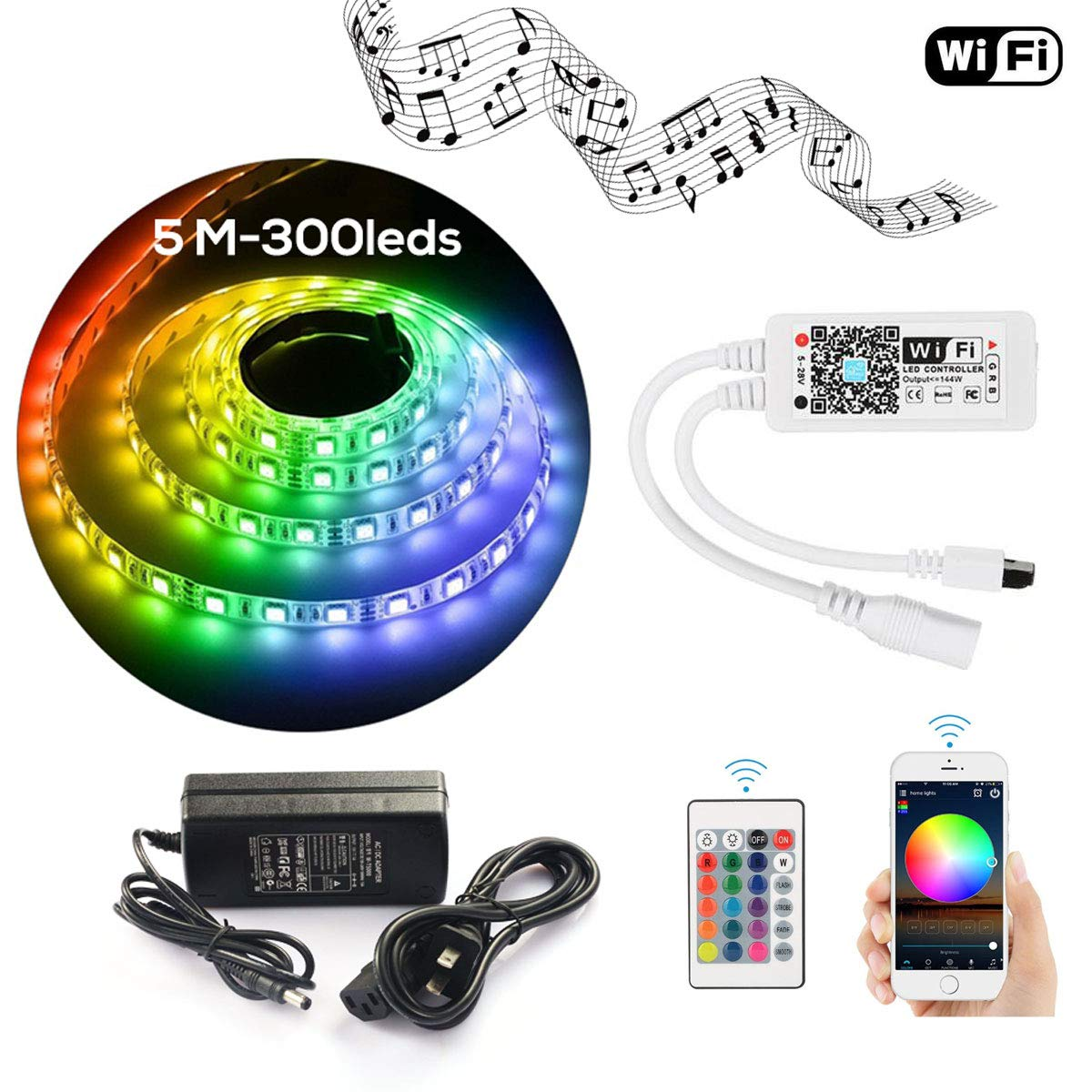LED Strip Light WiFi Wireless Controller Waterproof Full Kit with Remote & 12V 5A Power Supply 16.4ft 5050 RGB Light Strip Music Work with Alexa Echo, Android & iOS APP and Google Home(300leds)