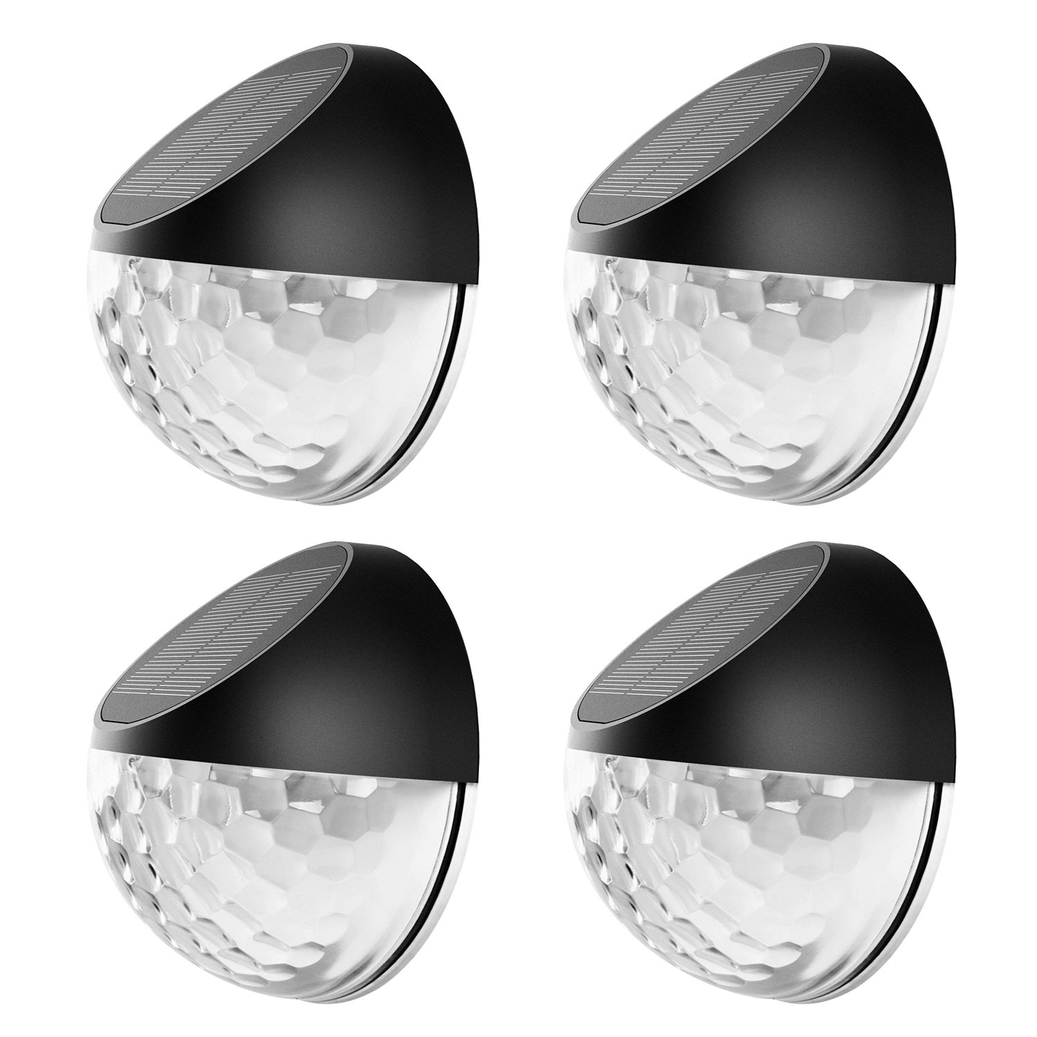 Solar Power Fence Lights, Exulight Decorative Garden Post Light, Outdoor Sensor Deck Lighting, Wireless Waterproof Wall Lamp with Auto on/off Night Dawn for Patio Walkway Driveway Yard Stairs (4 pack)