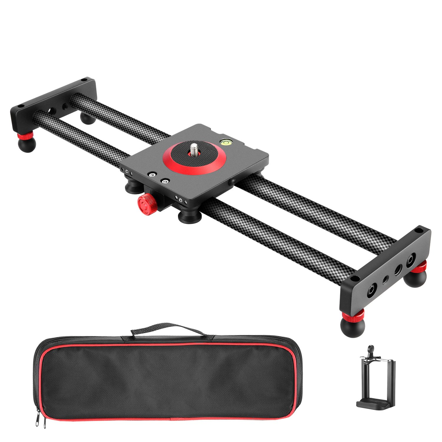 Neewer Camera Slider Carbon Fiber Dolly Rail, 19.7 inches/ 50 Centimeters with 4 Bearings for Smartphone Nikon Canon Sony Camera 12lbs Loading by Neewer