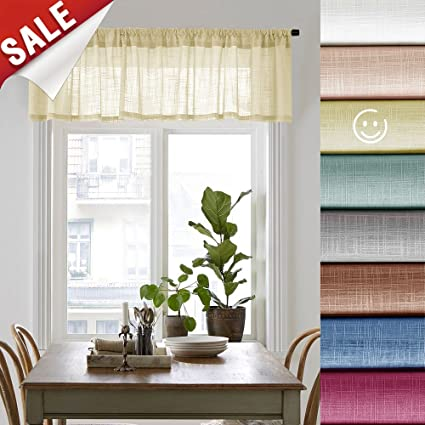 Amazon.com: Linen Textured Sheer Curtain Valances for ...