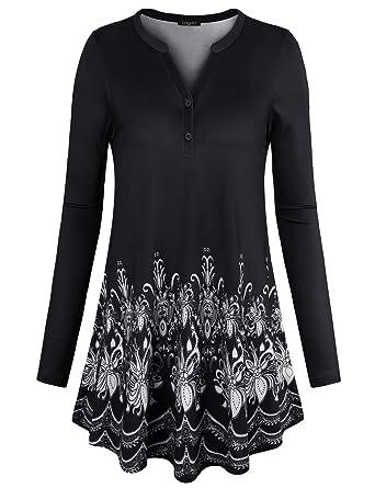 d3b0dbda4c6 Jersey Shirts for Women,Laksmi Henley V Neck Long Sleeve Stretchy Casual Shirts  Tops Loose