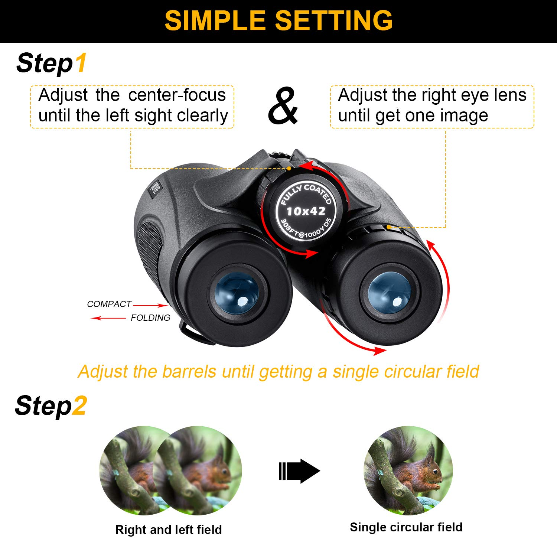 Dise/ño Compacto de Ultra-visi/ón QUNSE Mini Prism/áticos 10x25 Apto para Guardar en un Bolsillo o en tu Equipaje Lentes /ópticas Transparentes