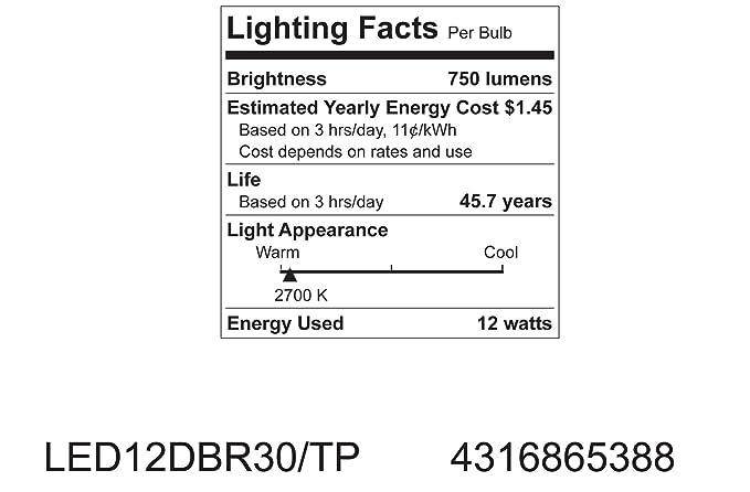 GE Lighting 65388 Energy Smart LED 12-Watt (60-watt replacement) 750-Lumen R30 Floodlight Bulb with Medium Base, 1-Pack - Led Household Light Bulbs ...