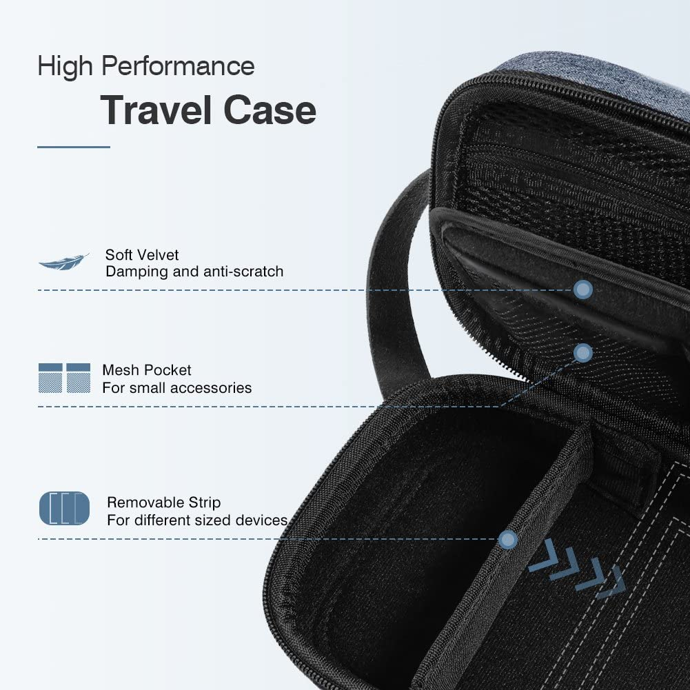 UGREEN Travel Case Gadget Bag Small Portable Electronics Accessories Organiser Travel Carry Hard Case Cable Tidy Storage Box Pouch with Double Layer Snap Hook Double Zipper Carrying Strap