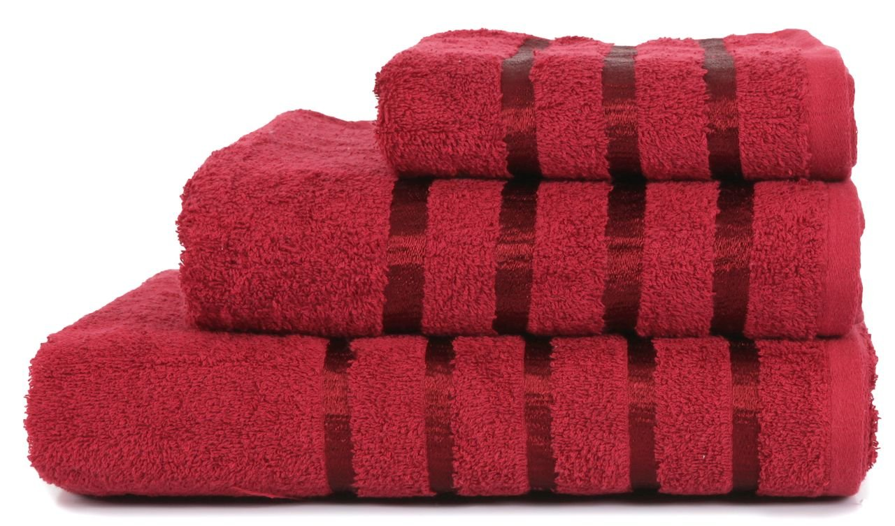 Burgundy Hand Towel 100/% Pure Cotton Luxury Savoy Stripe Wine 550gsm 50x85cms