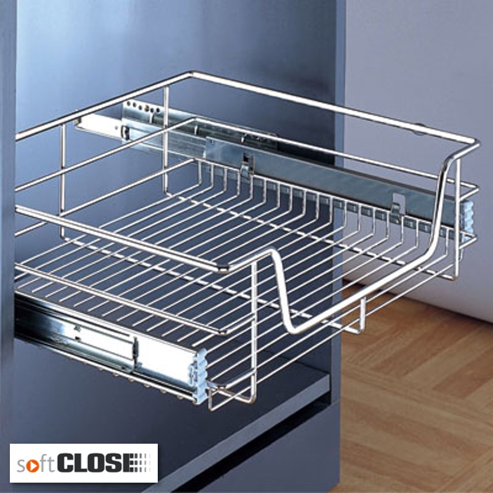 Pull out Soft Close Wire Storage Basket for Kitchen or Bedroom Drawers 6 Sizes Available In Polished Chrome Finish (For 400mm Drawer) Hilbri