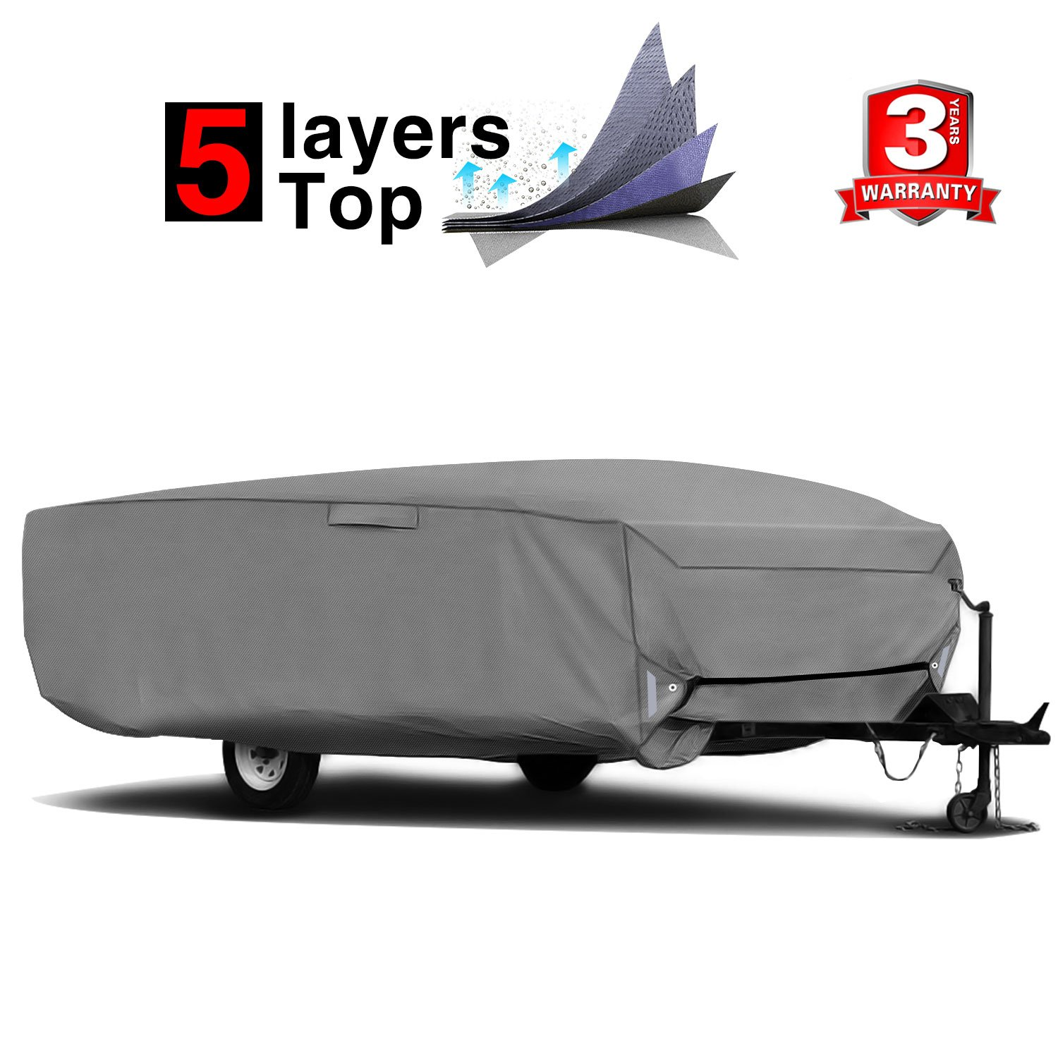 RVMasking Extra-Thick 5 Layers Pop-up/Folding Camper Trailer Cover, Fits 8'-10' Trailers - Breathable Waterproof Tearproof Anti-UV RV Cover, 5 PCS Windproof Buckles & Adhesive Repair Patch(25.4'&59')