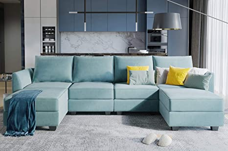 honbay convertible sectional sofa u shaped couch with reversible chaise modular oversized couch sectional sofa with ottomans aqua blue