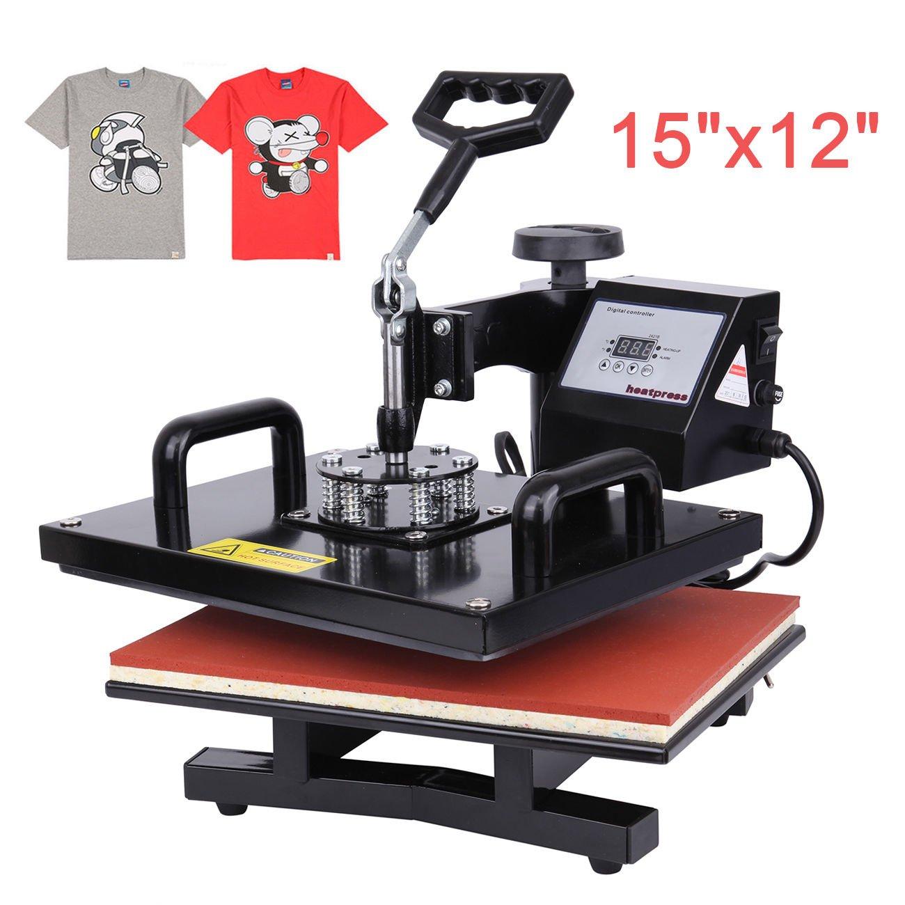 Iglobalbuy T-Shirt Heat Press Machine Digital Transfer Press Sublimation Machine (15x12 Swing-Away)