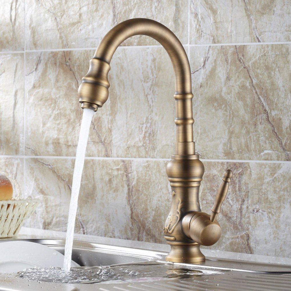 ALIUJIANGLONG Kupfer Antiken Europäischen Hause Spüle Wasserhahn Einhandbedienung Heiße und Kalten Mix Wasserhahn Bad Becken Swivel Wasserhahn Zeichnung Prozess