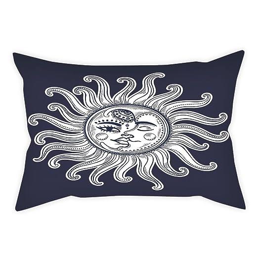 iprint - Funda de Cojín de Satén, Diseño de Sol y Luna, con ...
