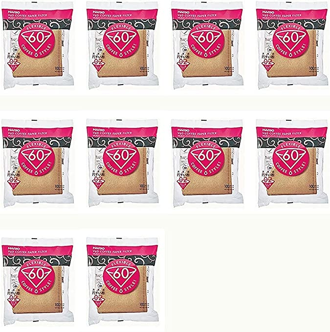 10Set X Hario 02 100-Count Coffee Natural Paper Filters, 10 Pack Value Set (Total of 1000 Sheets) by Hario