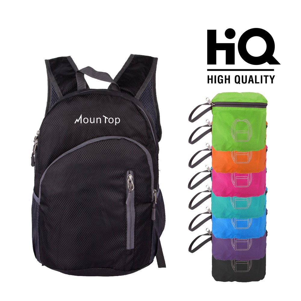 mountop Lightweight Foldable Packable Durable Travel Hiking Backpacks Daypacks 20L (Black)